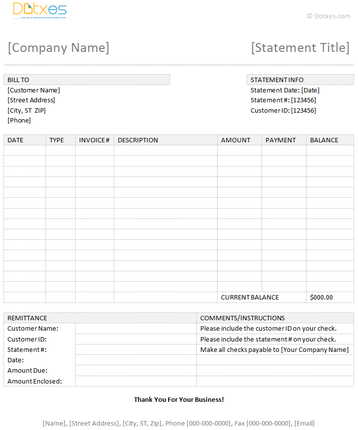 Free Billing Statement Template Excel And Free Template For Billing Statement