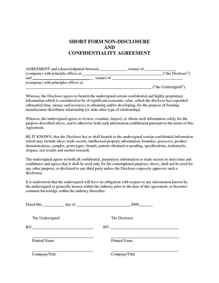Non Disclosure Agreement Nda Template And Non Disclosure Agreement Template Film Script