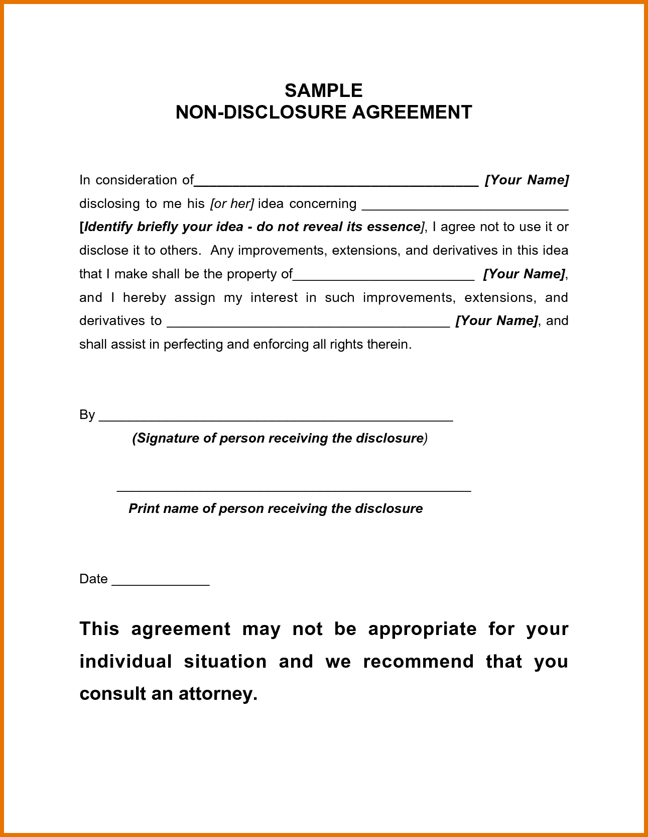 Non Disclosure Agreement Template Free And Non Disclosure Agreement Template California