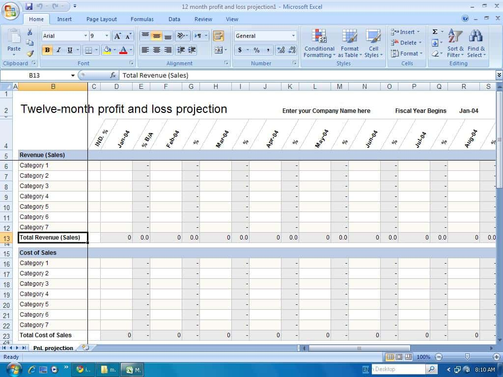 Profit And Loss Statement Template For Mac And Profit And Loss Statement Template For Self Employed Excel