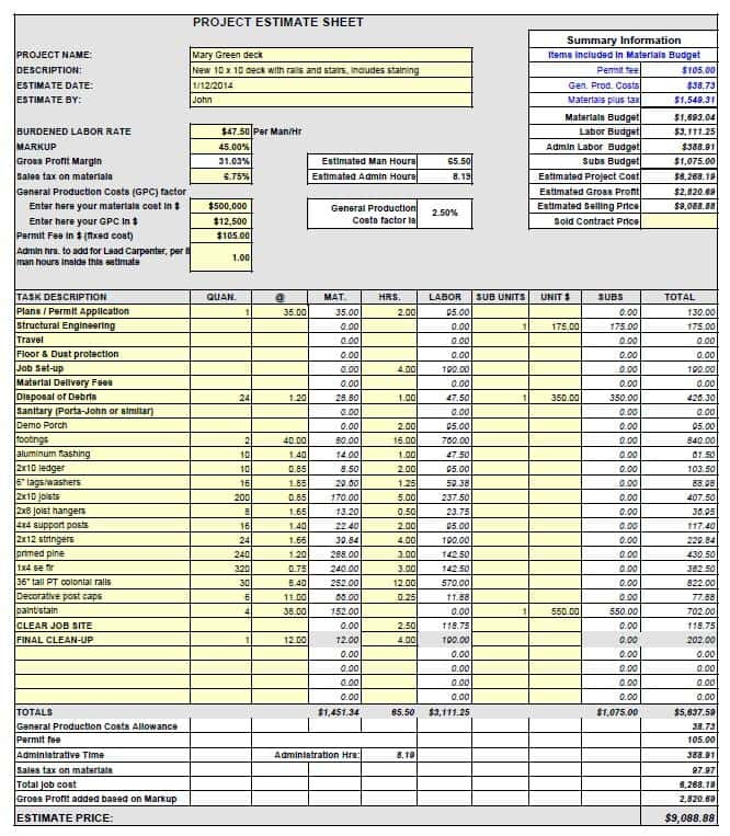 Remodeling Estimate Excel Template And Construction Cost Estimate Template Excel