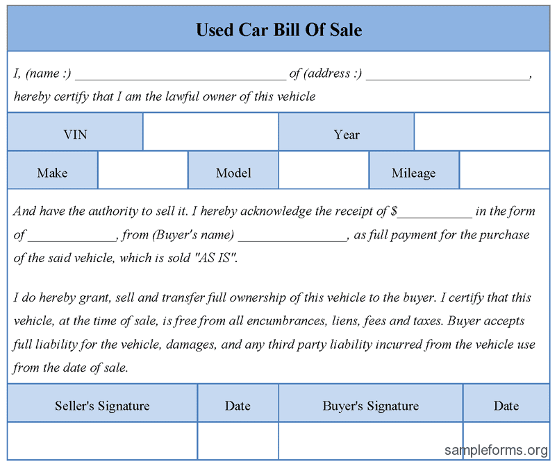 Used Car Bill Of Sale Template As Is And Used Car Bill Of Sale Form Template