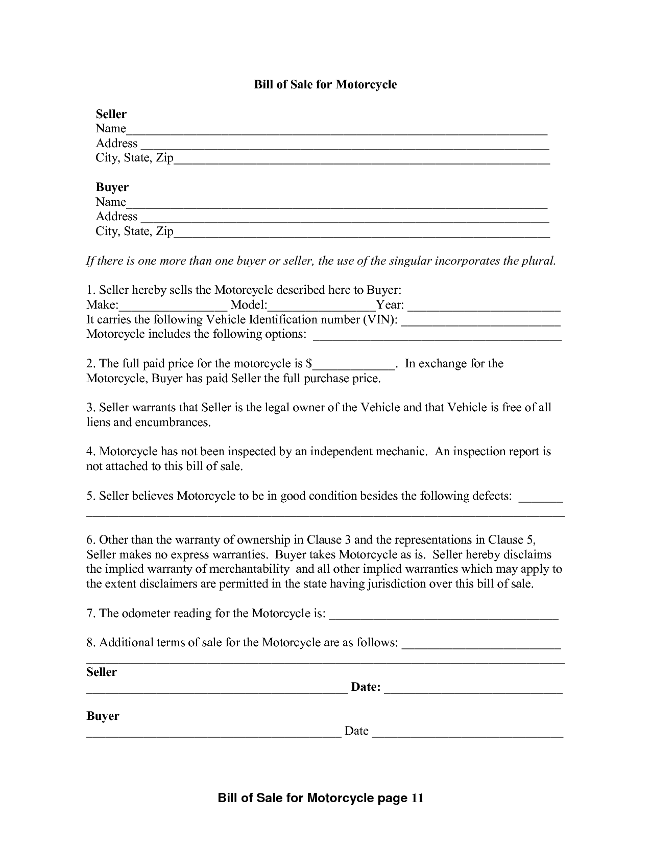 Atv bill of sale form template and atv bill of sale pdf