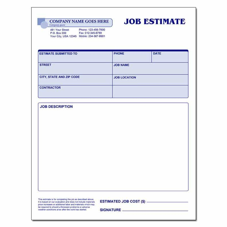 Free painting estimate form template and painting bid proposal form