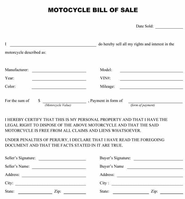 Bill of sale for personal property template