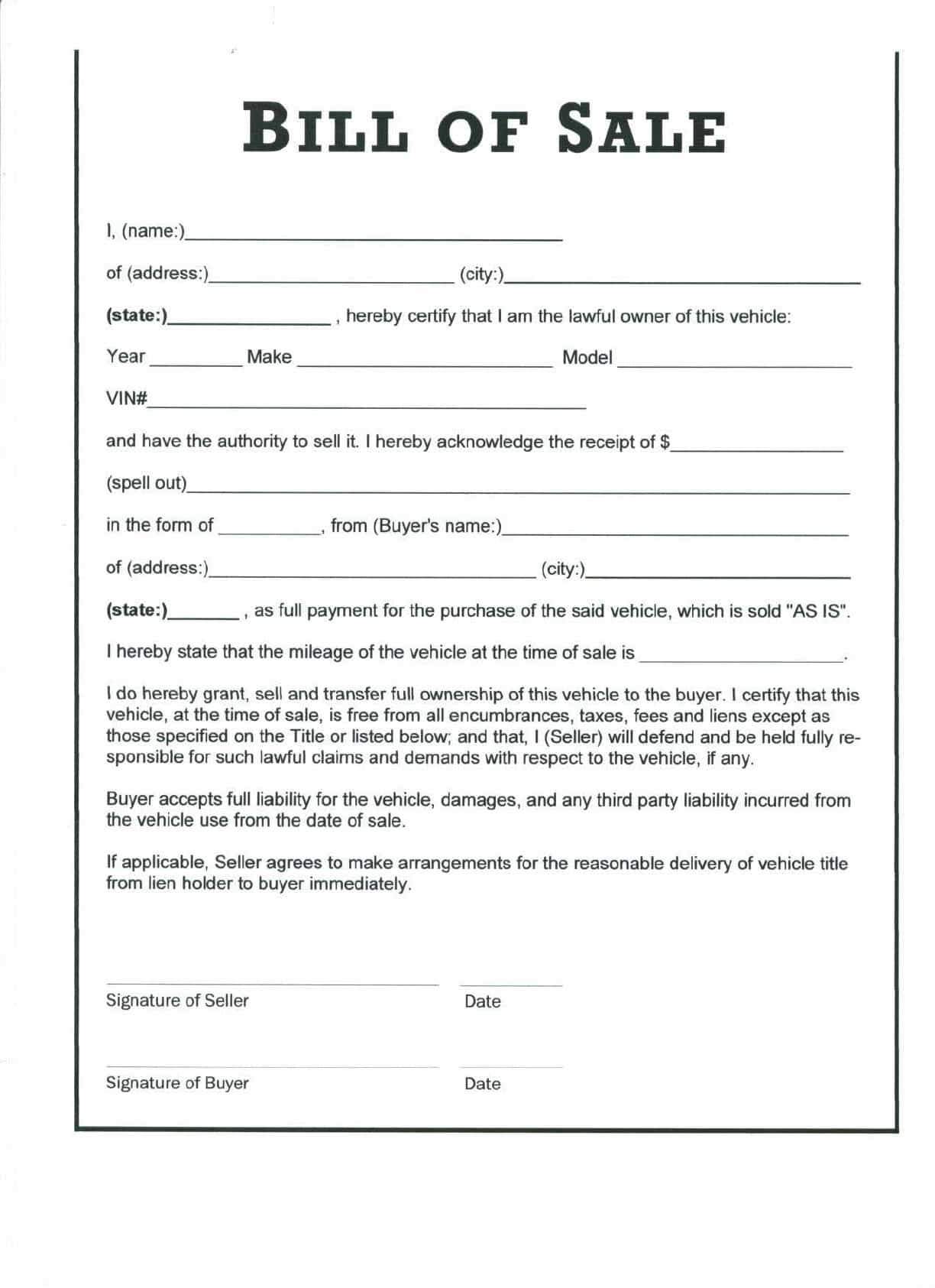 Bill of sale personal property template