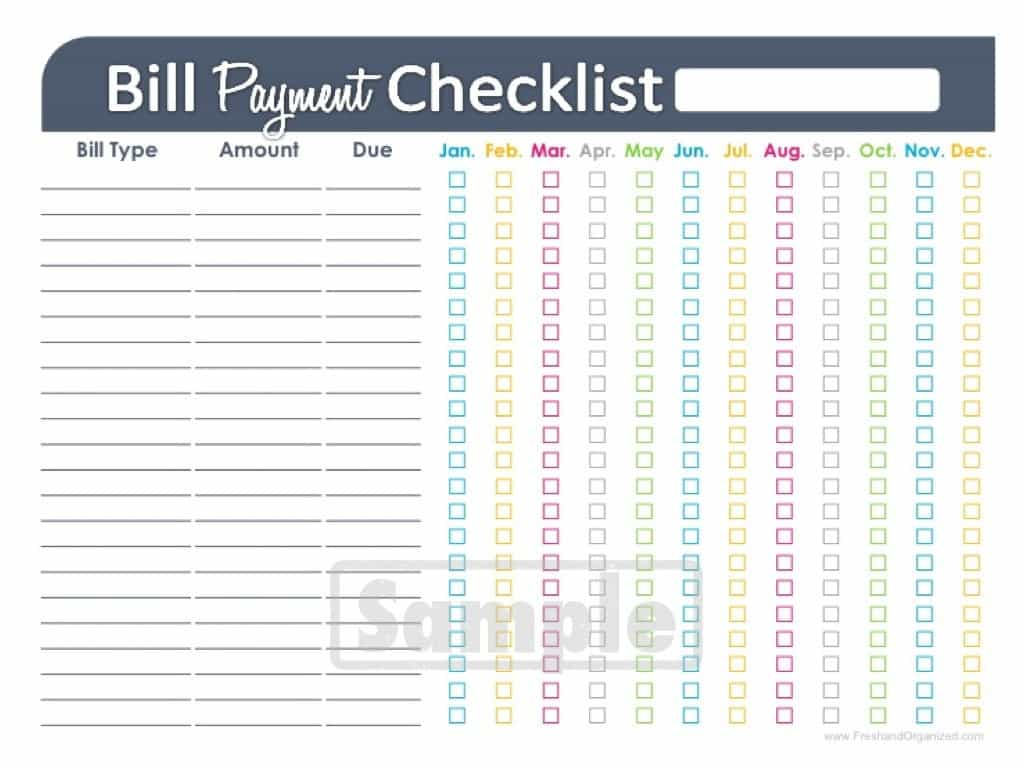 Bill list template and printable bill pay checklist