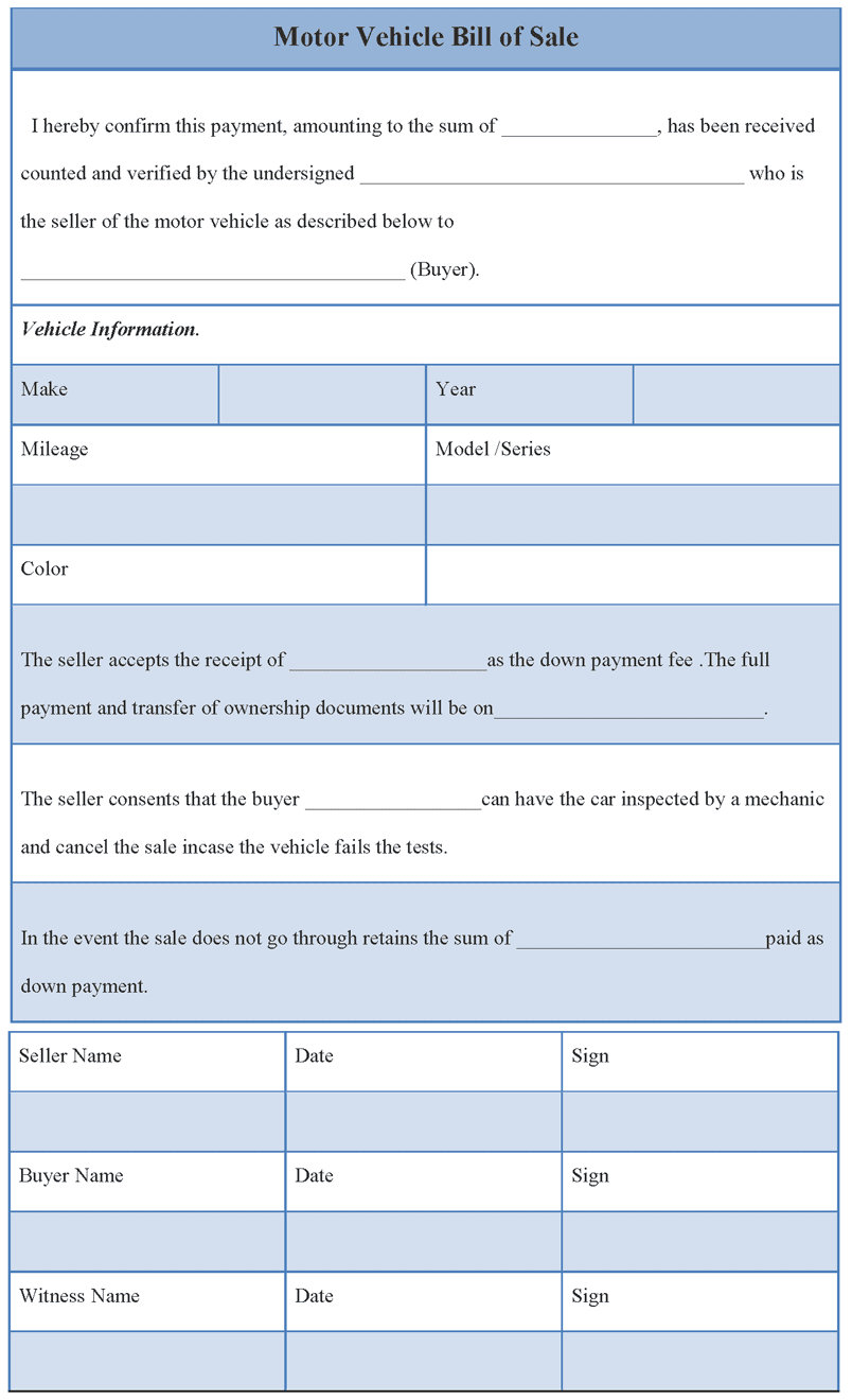 Bill Of Sale Template For Car Free And Free Blank Bill Of Sale Form For Car
