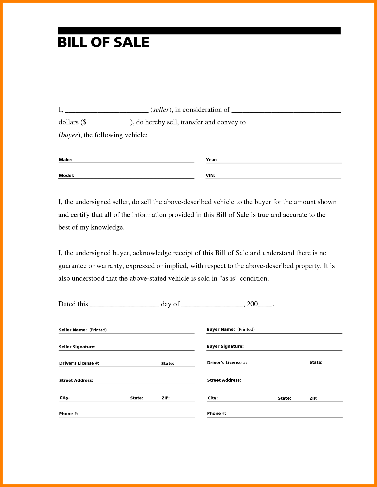 Bill of sale template for car microsoft word and motor vehicle bill of sale printable