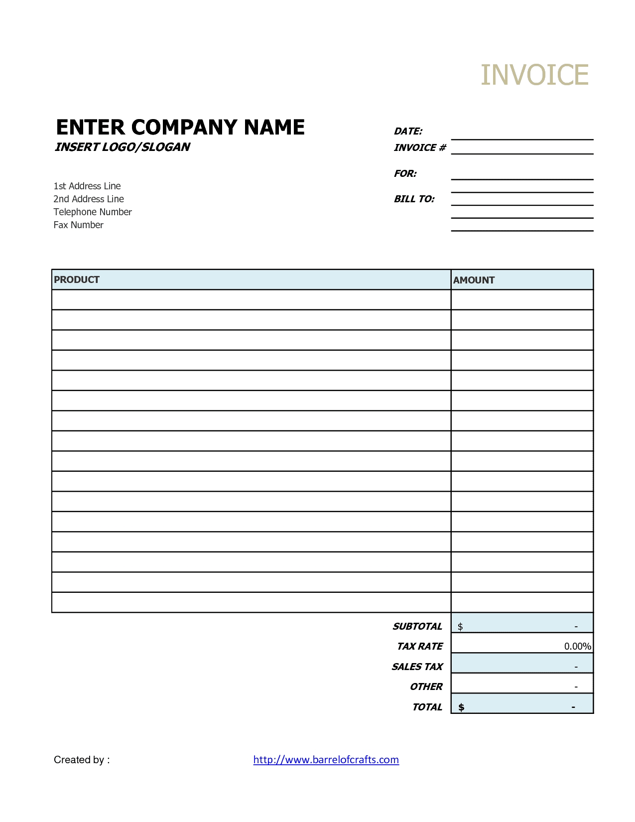 Blank Invoice Template Excel And Invoice For Services Free Template