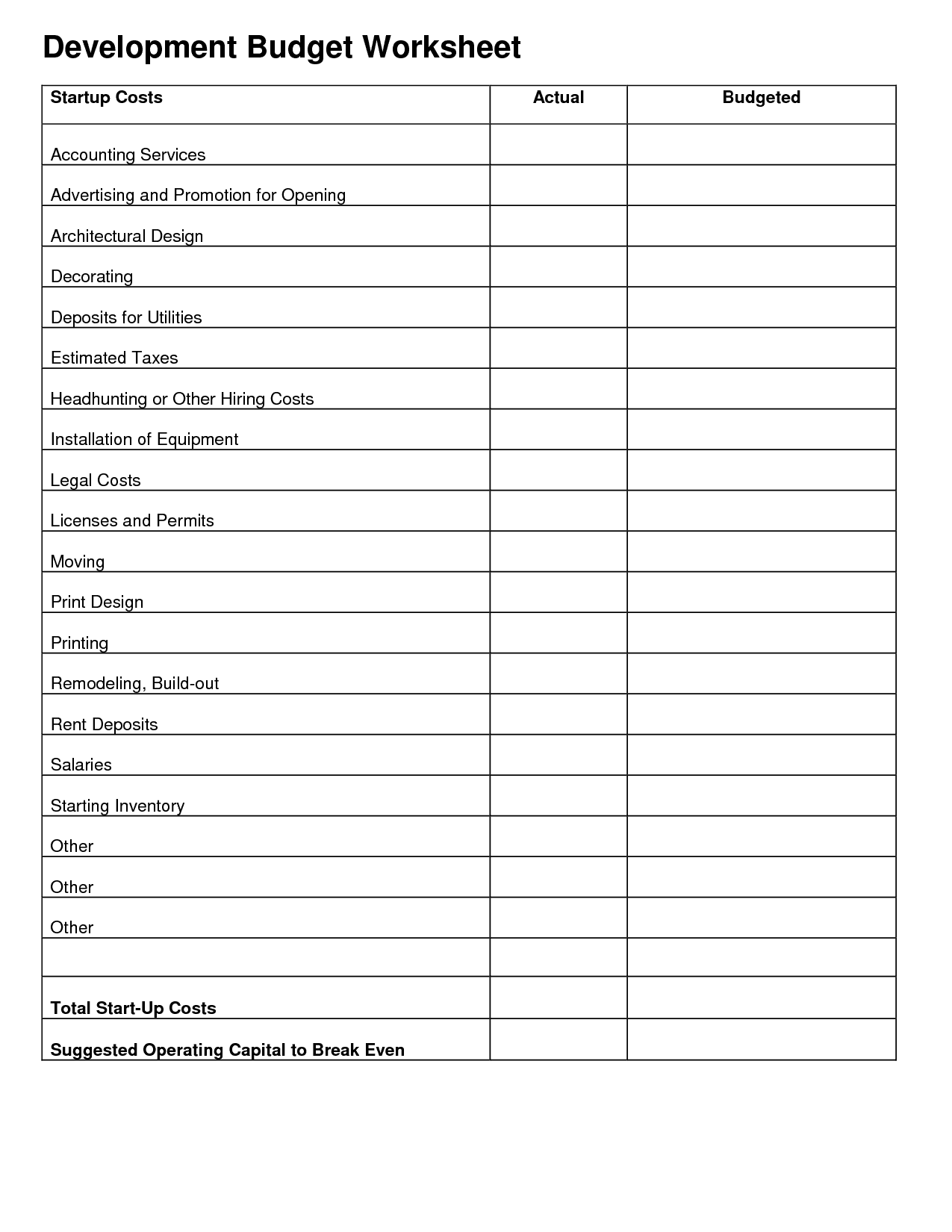 Business budget planner worksheet free and small business budget templates free