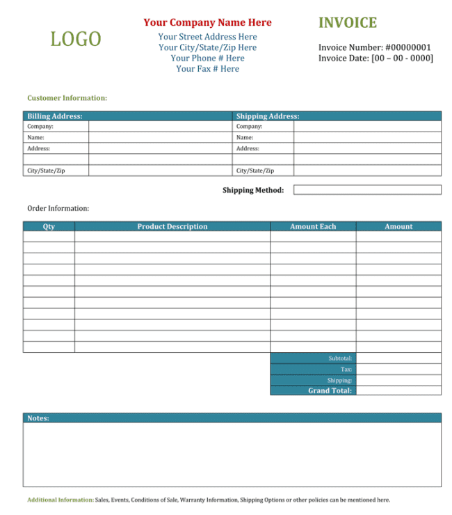 Free blank invoice template microsoft word and service invoice template