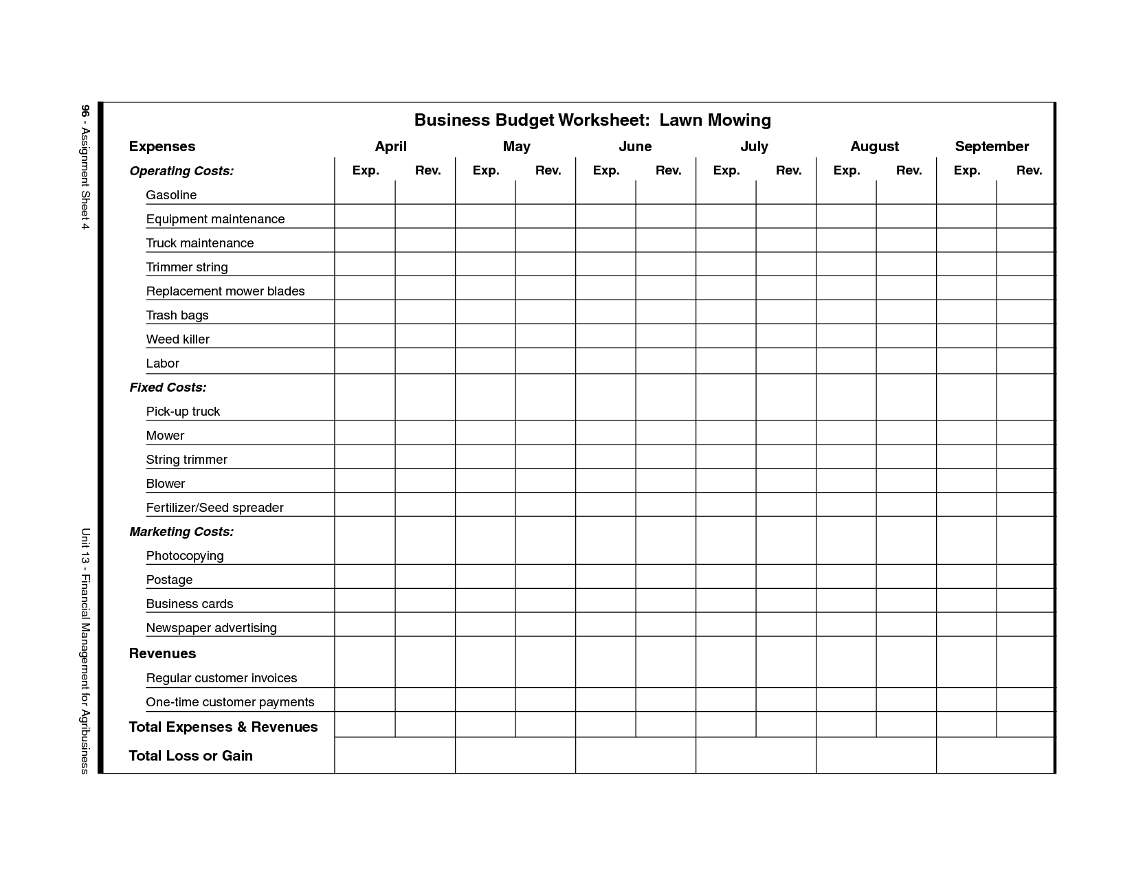 Free budget worksheet for small business and free printable business expense sheet