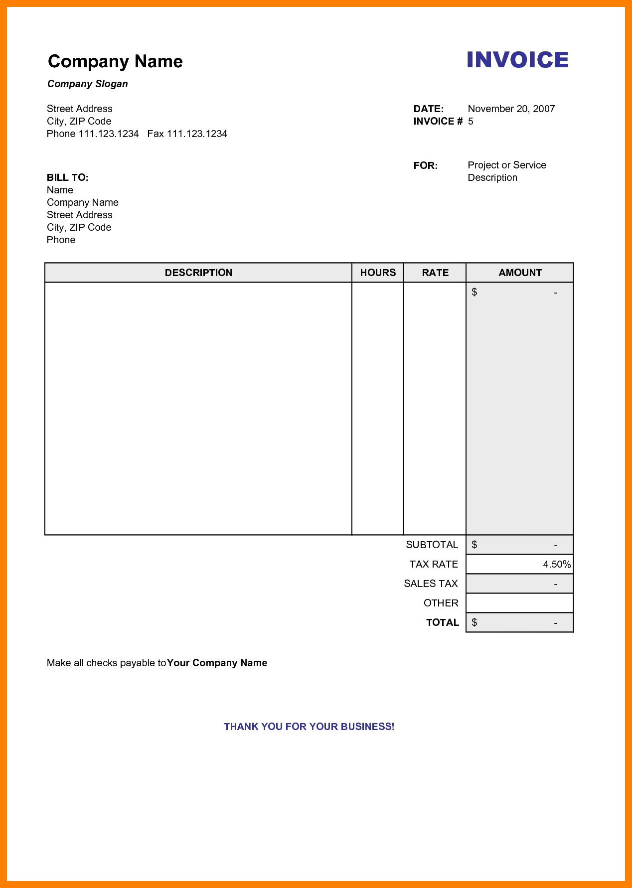 Free Online Templates For Invoices And Simple Invoice Template