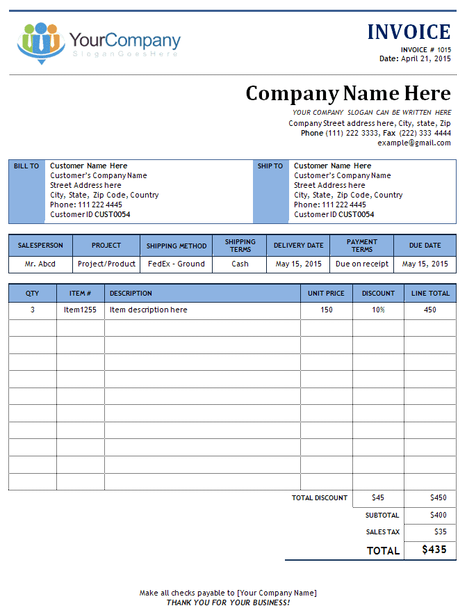 Free Template For Invoice Receipt And Free Example Of Invoice Template