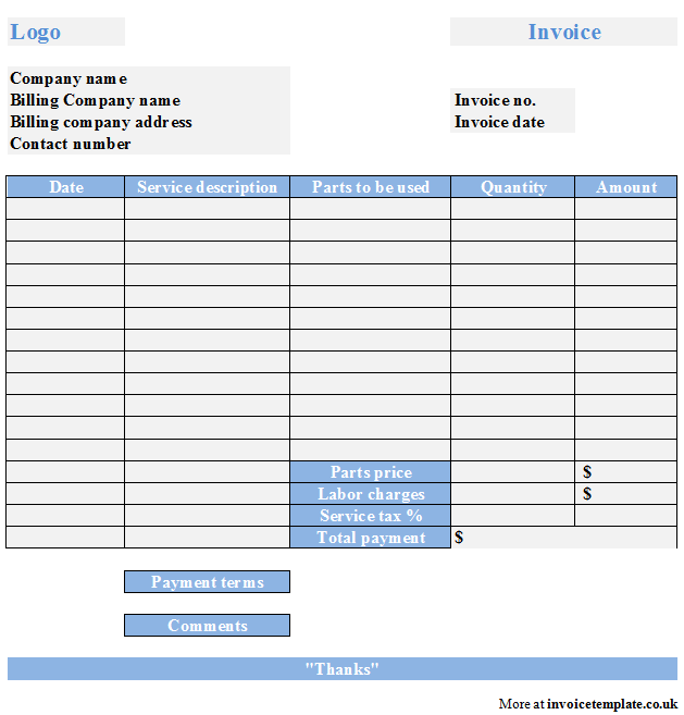 Handyman Invoice Forms And Labor Invoice Template Word