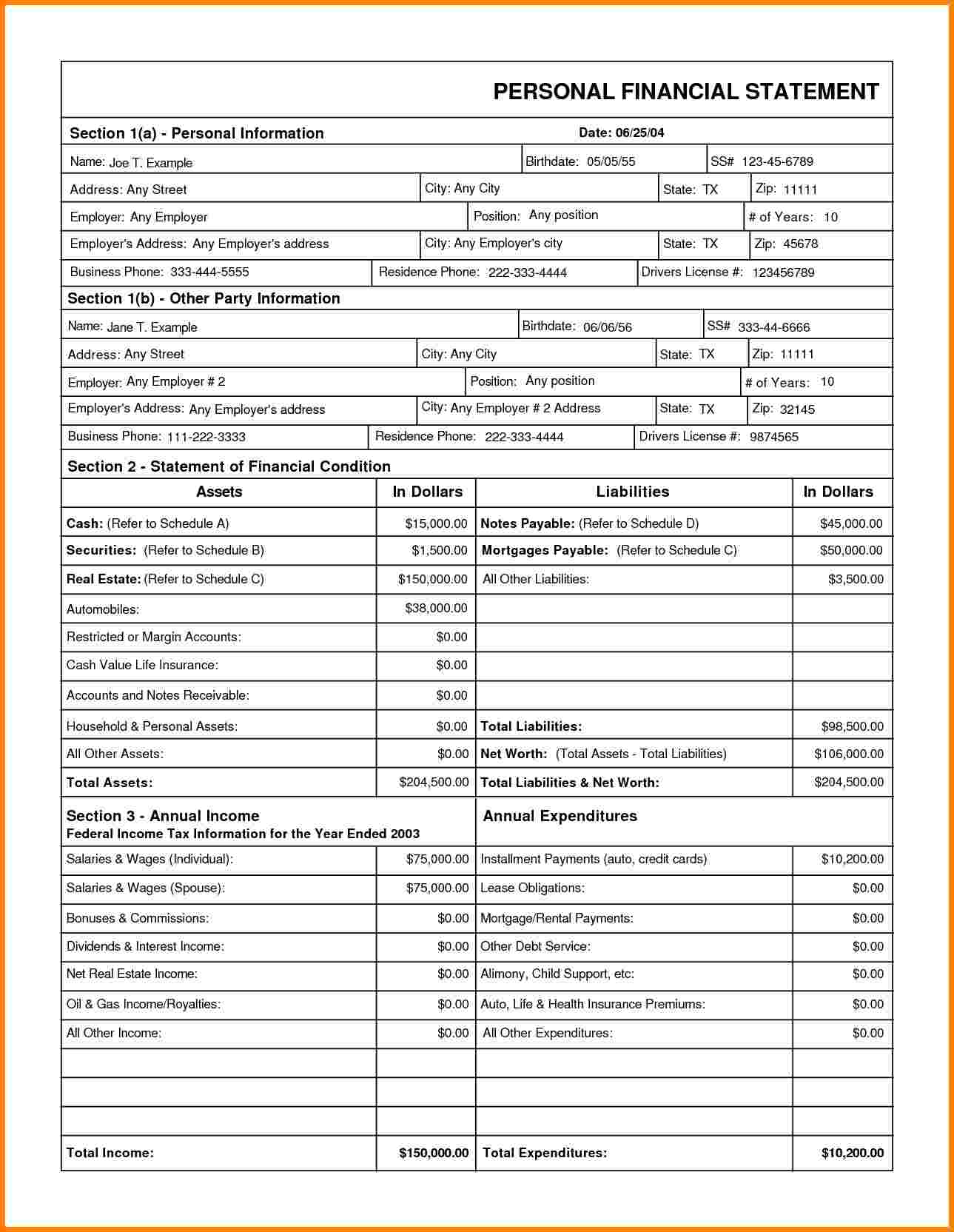 Personal Financial Statement Form Printable And Personal Financial Statement Form Ps 15