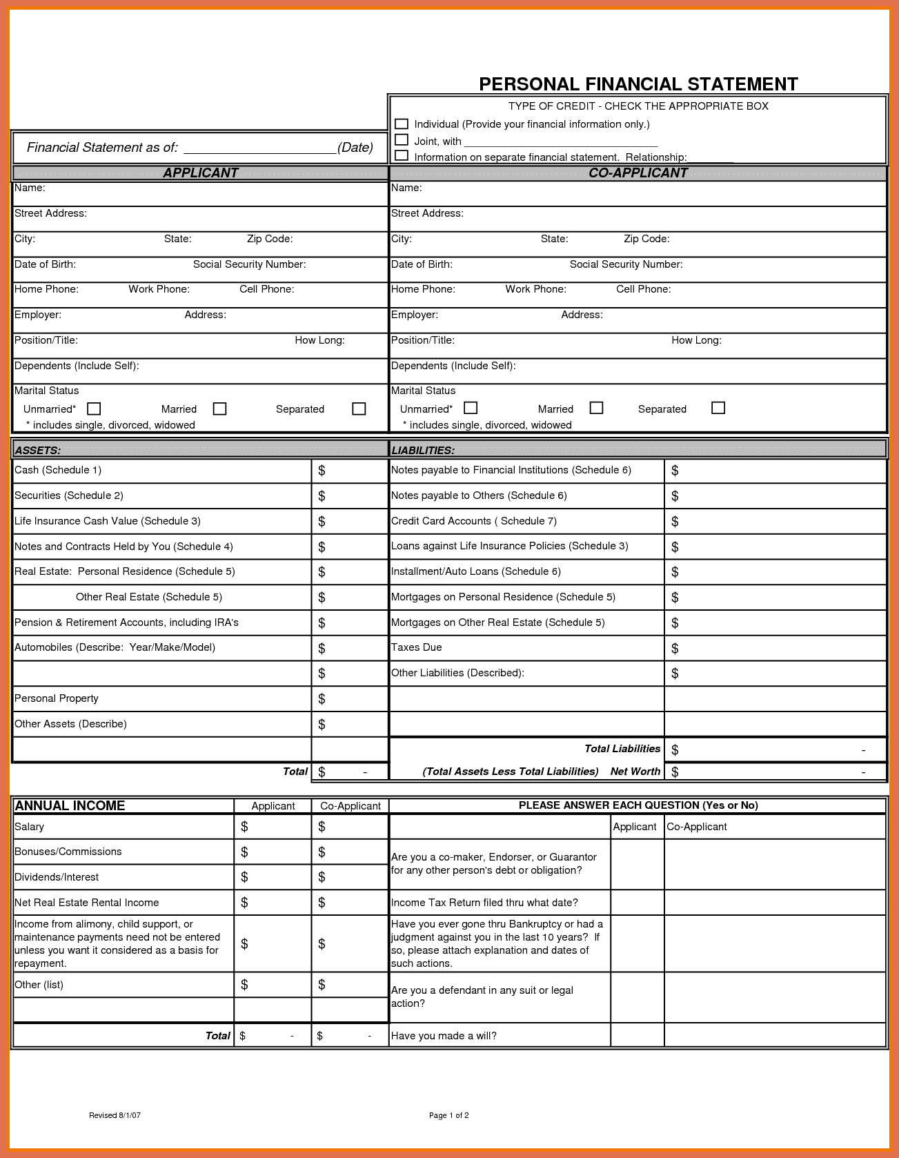 Personal Financial Statement Template Google Docs And Personal Financial Statement Template Bank