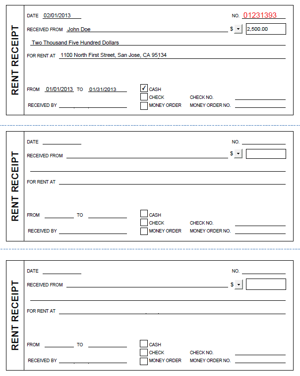 Rent receipt template pdf and rent receipt template uk word