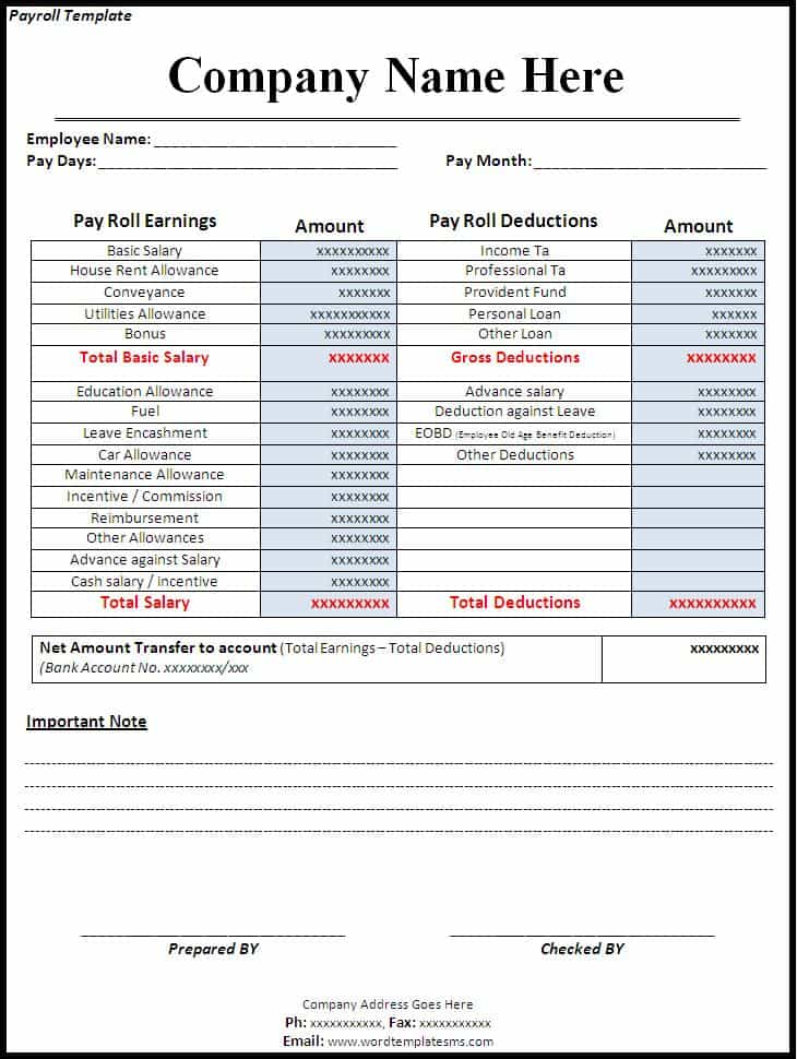 Sample Payroll Sheet In Excel And Payroll Sheet Template Pdf