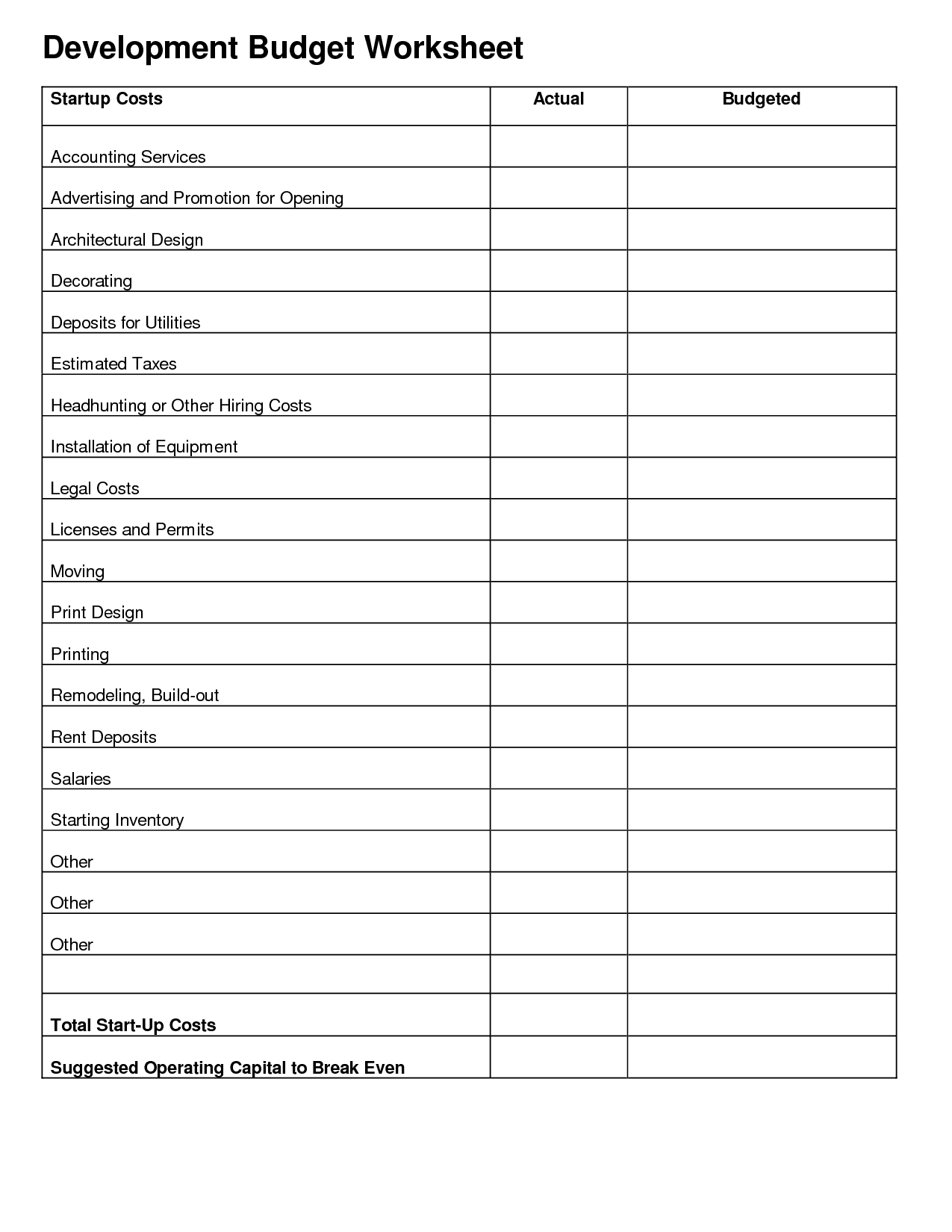 Small Business Start Up Cost Worksheet And Business Start Up Expenses Template