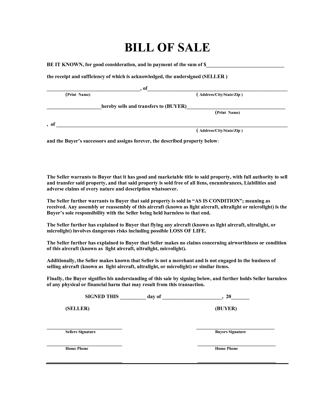 Vehicle Bill Of Sale Template Fillable Pdf And Printable Bill Of Sale Pdf