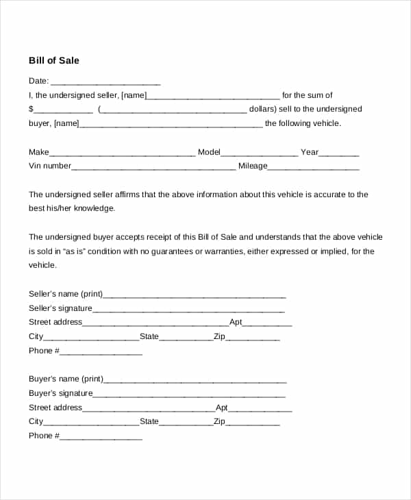 Auto Bill Of Sale Template And Free Vehicle Bill Of Sales Template
