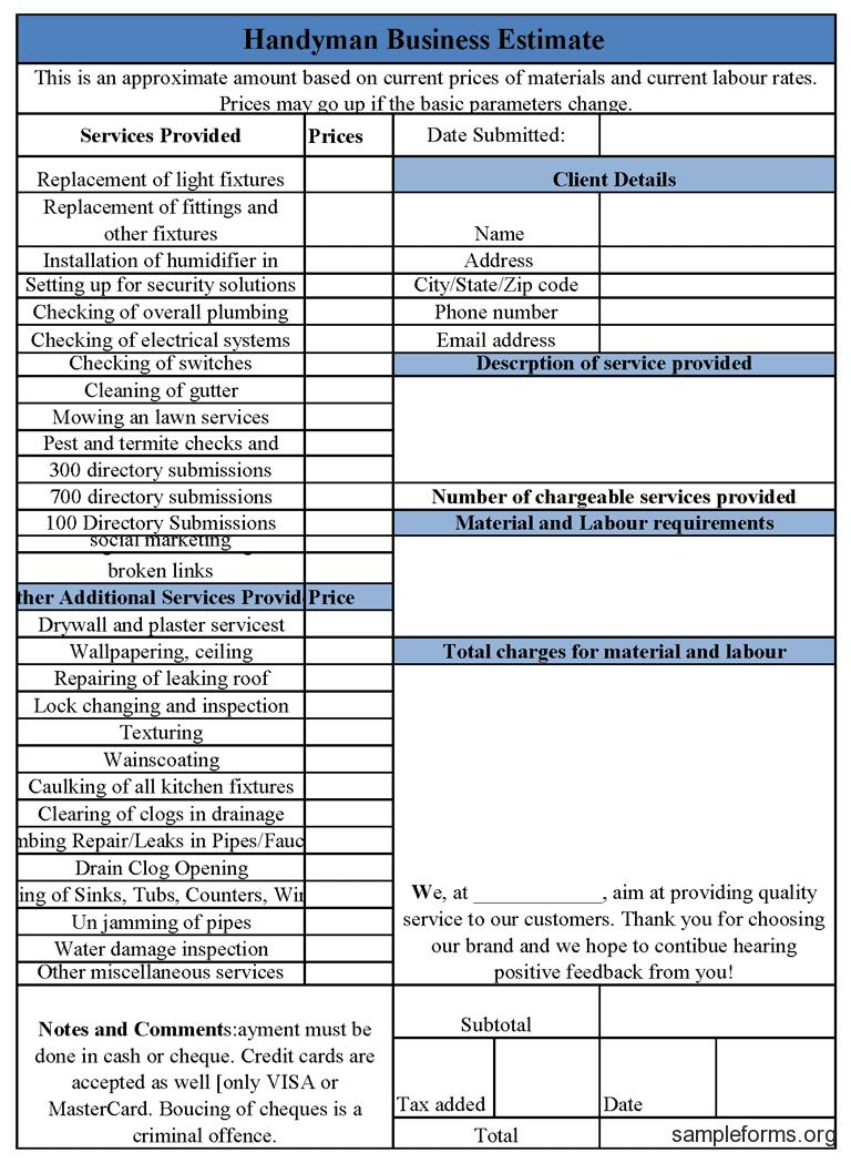 Auto Repair Estimate Template Excel And Auto Repair Shop Estimate Template