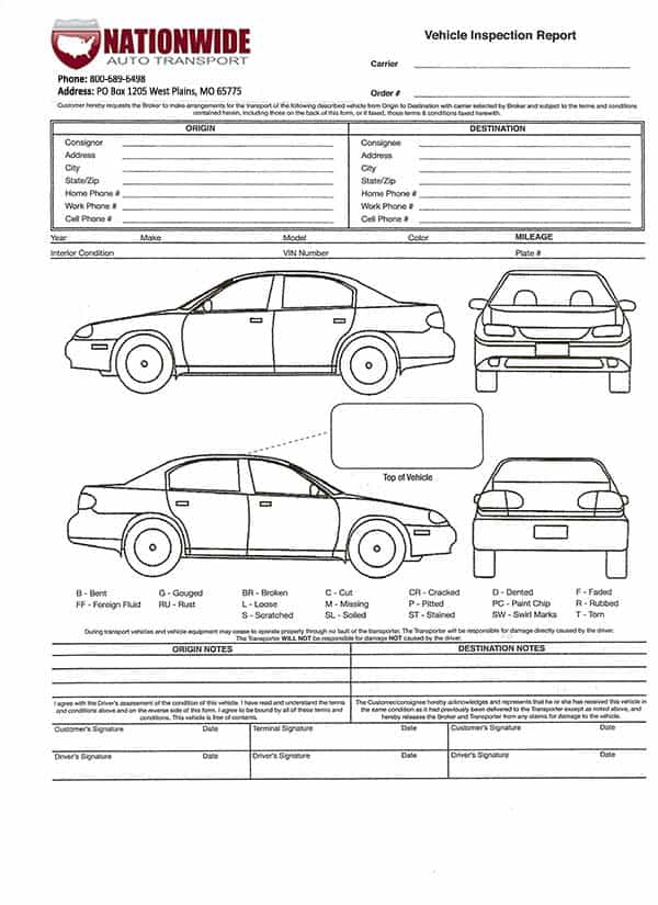 Auto Transport Bill Of Lading Form And Vehicle Bill Of Lading Form