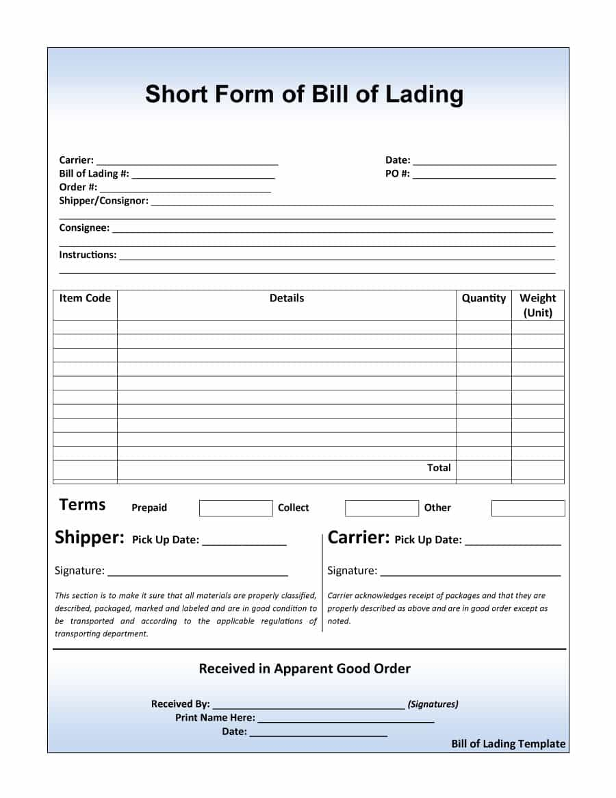 Auto Transport Bill Of Lading Template And Auto Bill Of Lading Pdf