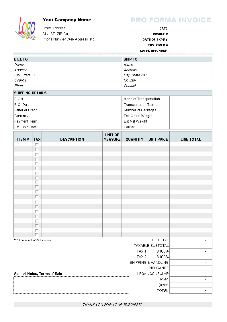 Blank Invoice Template Free Print And Blank Invoice Template Excel