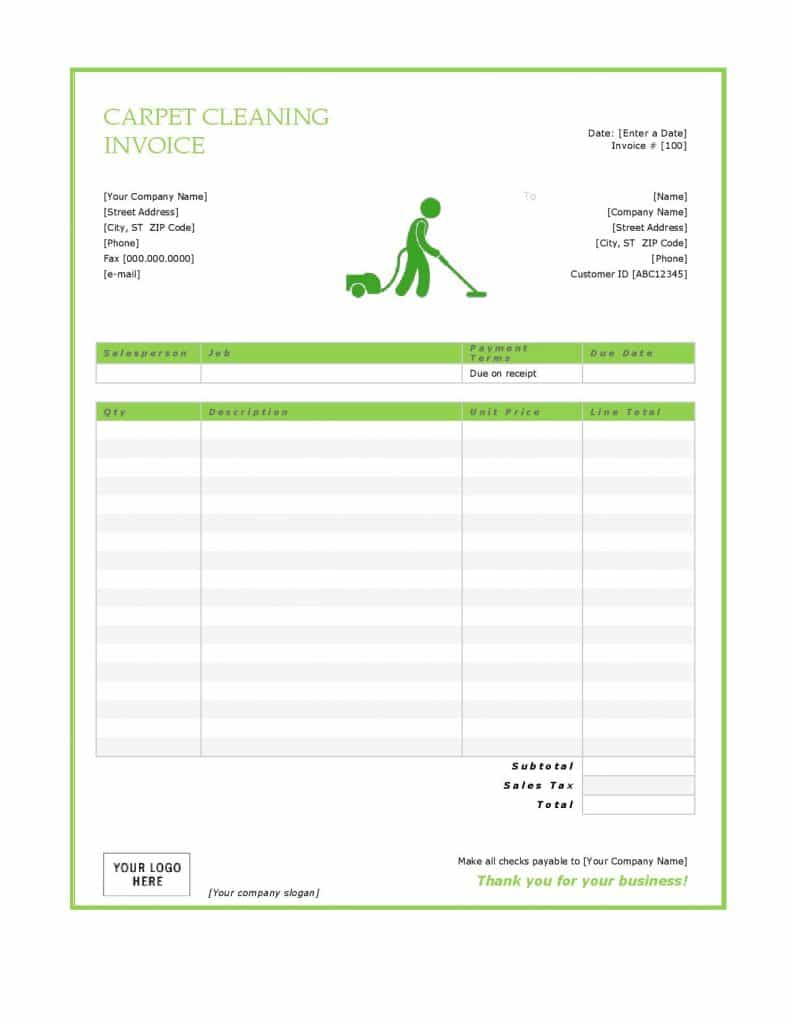 Carpet Cleaning Invoice Free Download And Carpet Cleaning Invoices Forms