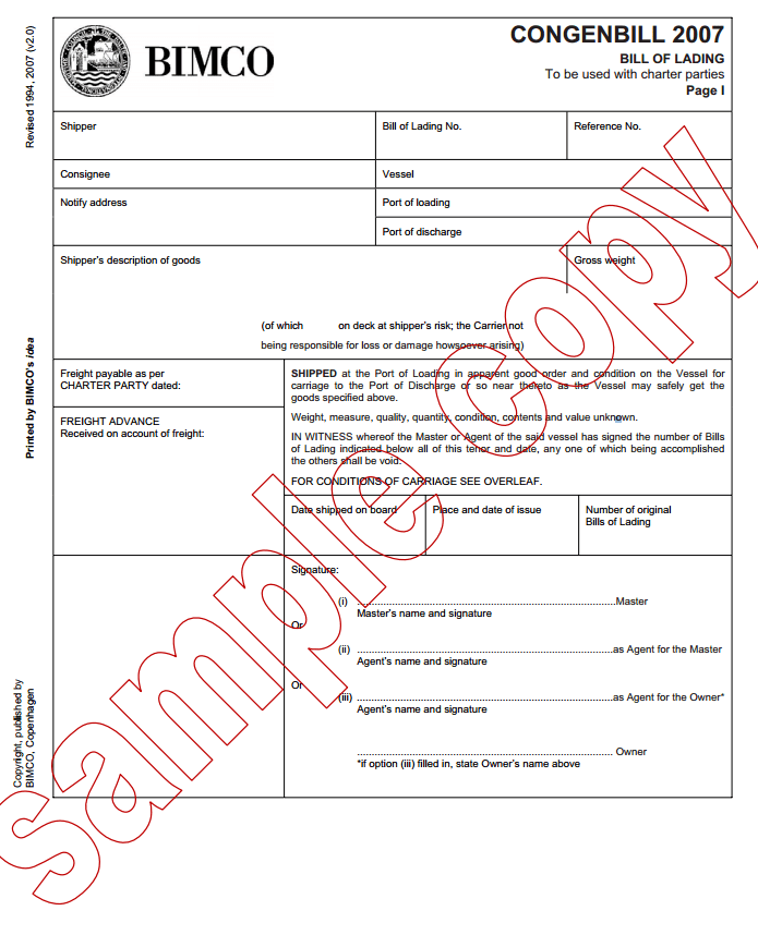 House Ocean Bill Of Lading Template And Bill Of Lading Free Template