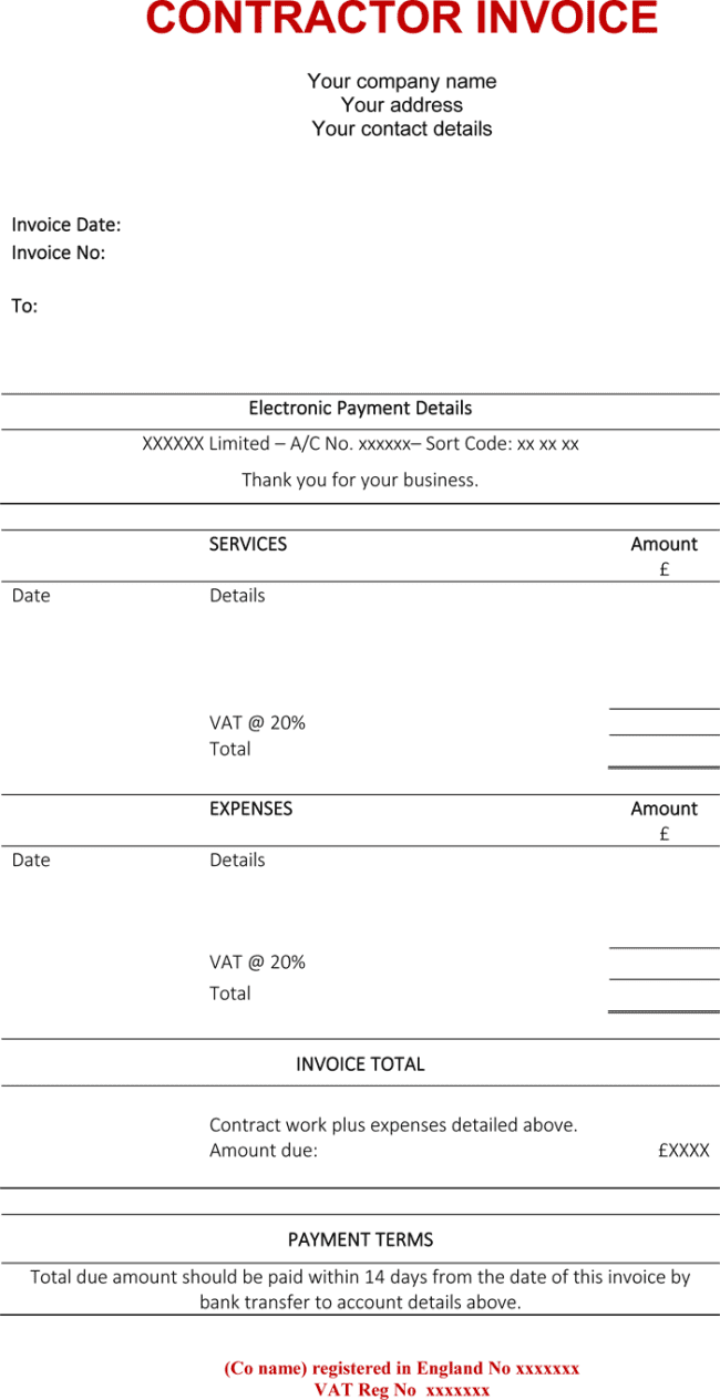 Invoice Template For Electrical Contractor And Invoice Template Software Contractor