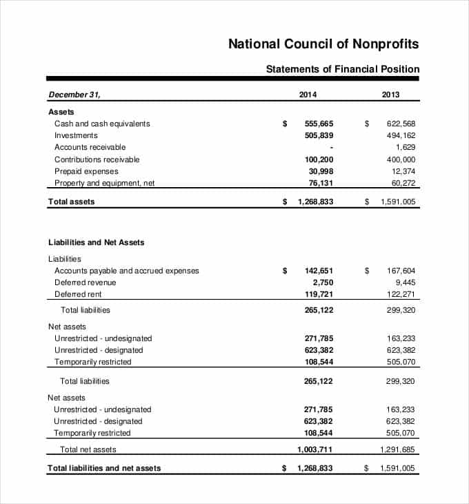 Non Profit Income Statement Excel And Startup Financial Statement Template
