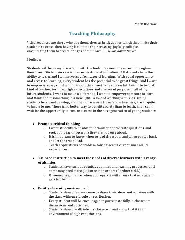 Professional Philosophy Examples And Philosophy Of Early Childhood Education Examples