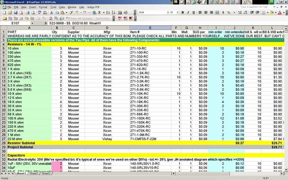 Sample Bill Of Materials Excel And Sample Of Bill Of Materials For Electrical