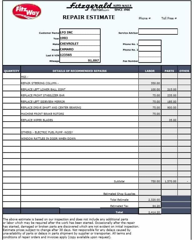 Auto Repair Estimate Invoice Template And Car Repair Estimate Forms Free