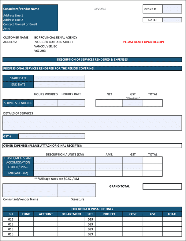 Contractor Invoice Template Free Download And Free Construction Invoice Forms