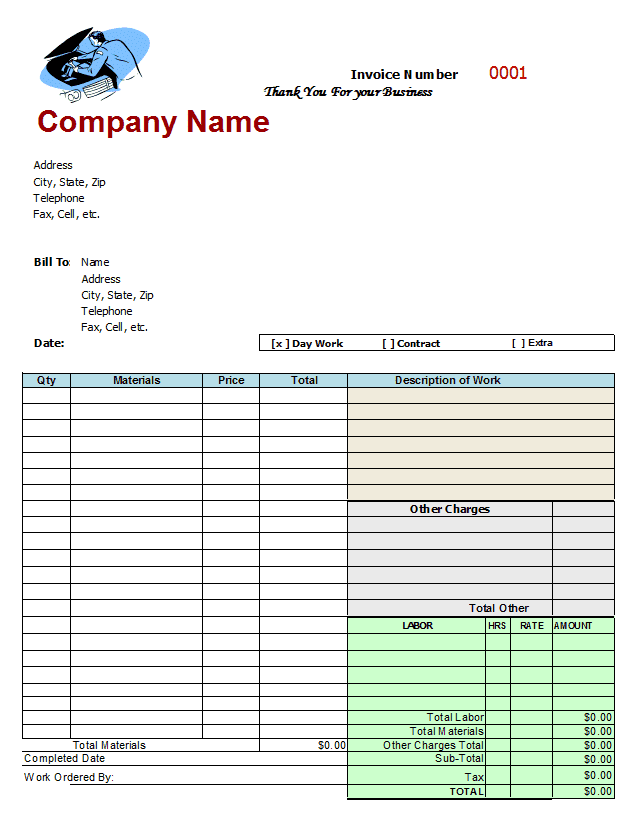 Free Auto Repair Invoice Template Excel And Editable Auto Repair Templates Free