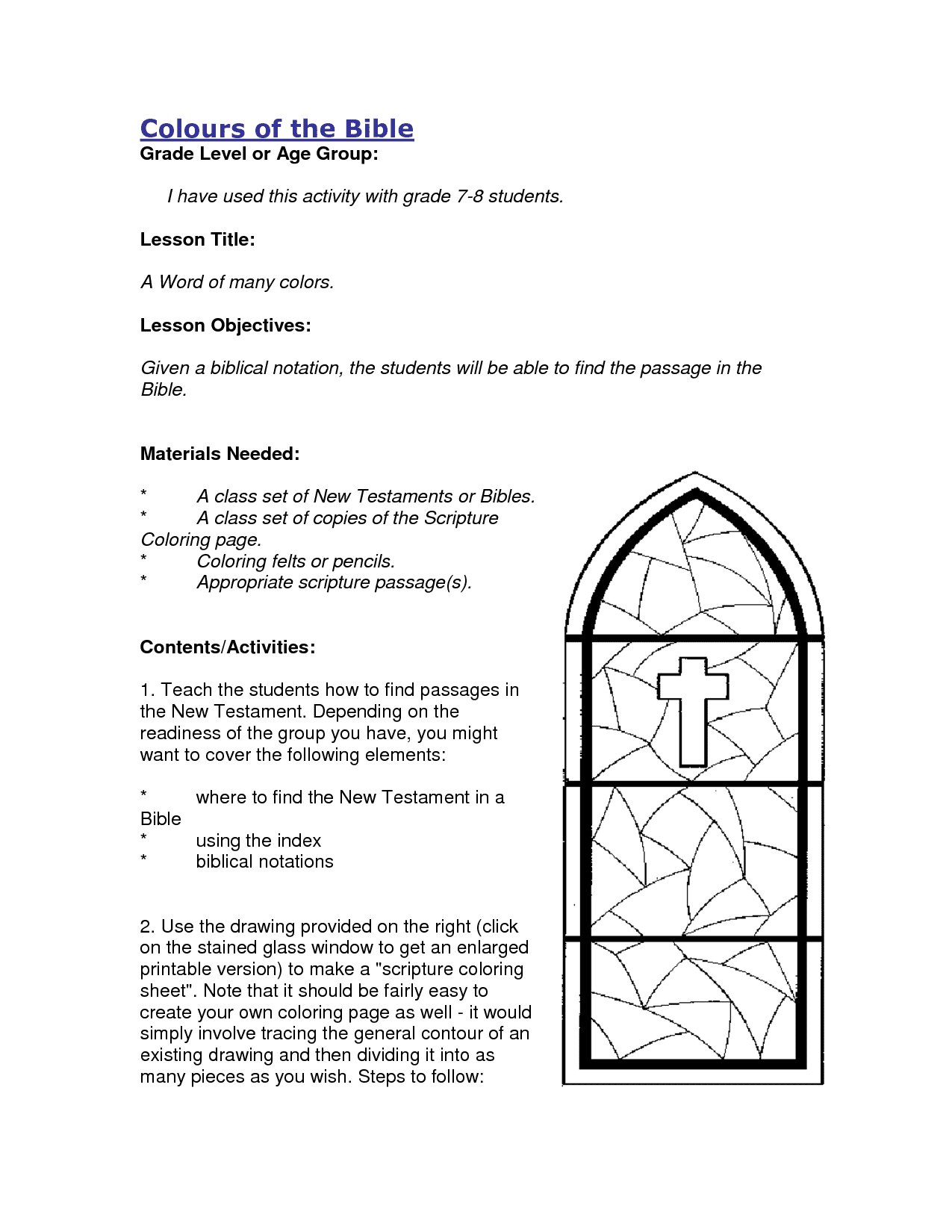 Free Printable Bible Activity Sheets And Free Printable Sunday School Coloring Pages