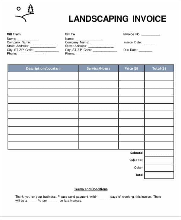 Landscaping Estimate Form Excel Free And Customizable Invoice Template