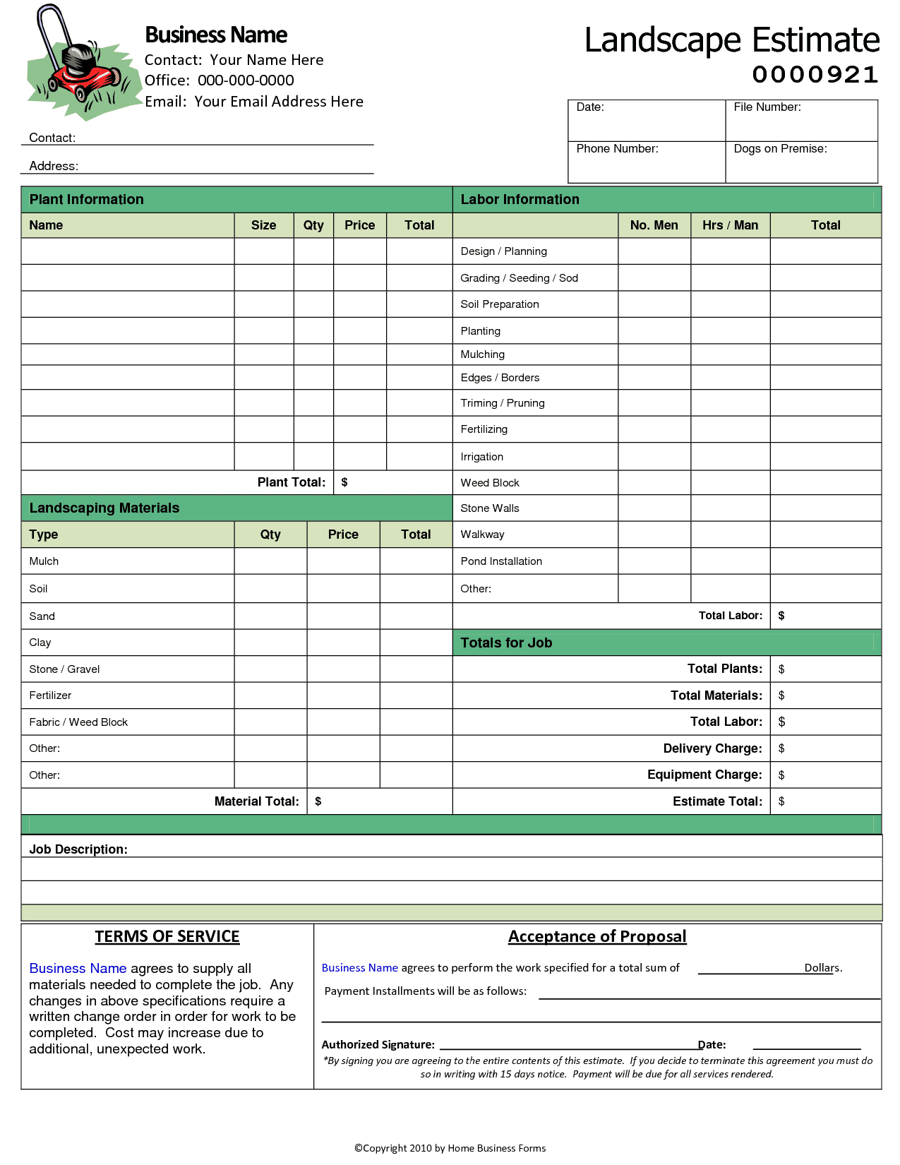 Landscaping Invoice Software And Small Invoice Template