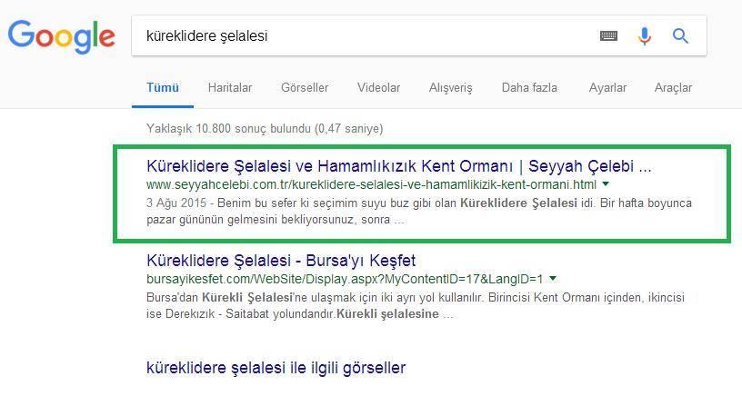 Google Küreklidere Şelalesi Sıralaması