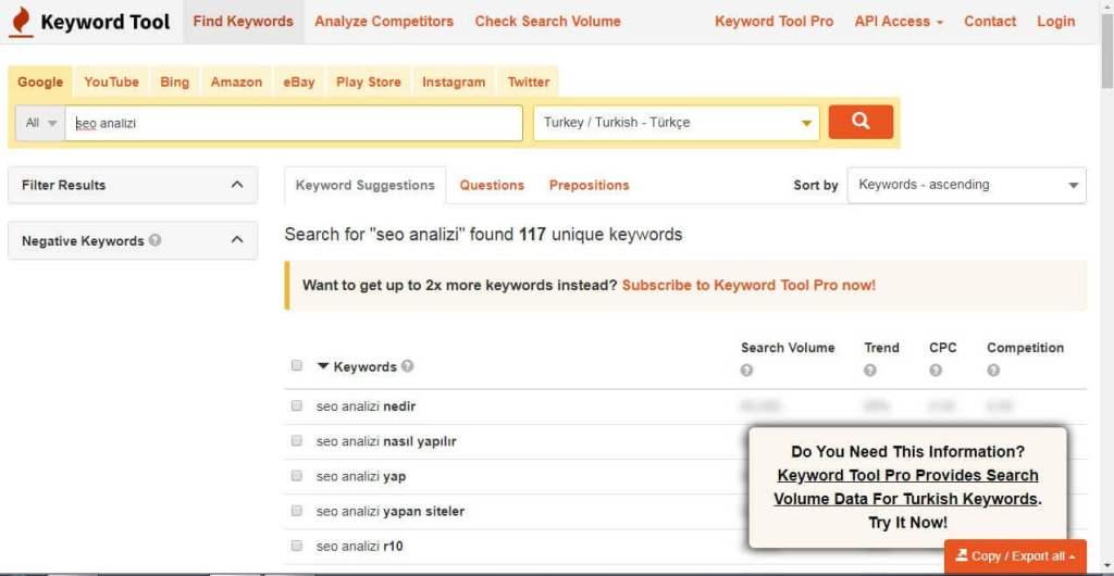 Keywordtool.io ile Anahtar Kelime Analizi