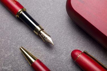 biuro dlugopis pióro komplet w czerwonym drewnianym pudełku 2