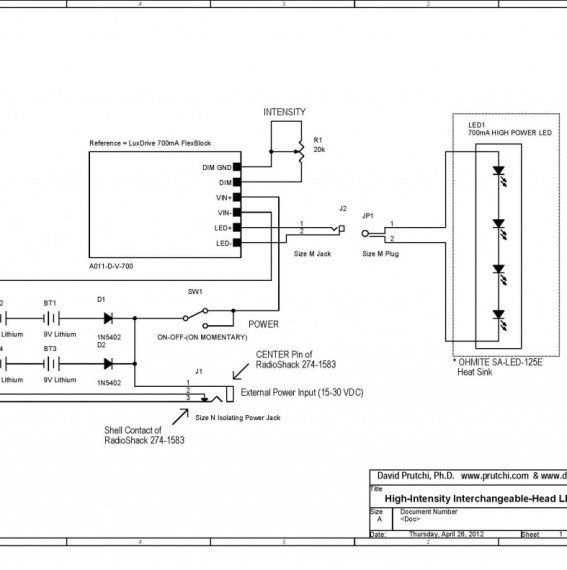 circuit diagram for high power UV/IR/visible Flashlight by David Prutchi PhD www.diyPhysics.com