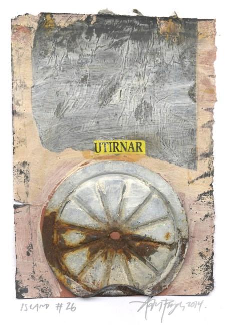 """Lars Pryds: """"Blönduós Have More Fun, Island #26"""", 2014. Gouache, kridt, collage på papir. Ca. 15,5 x 11 cm. PRIVAT EJE"""