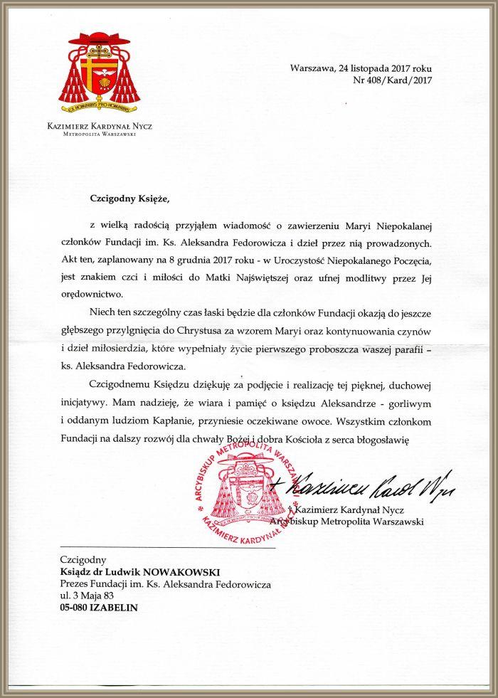 Błogosławieństwo Ks. Kard. Kazimierza Nycza