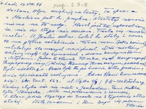 List ks. Tadeusza Fedorowicza do siostry Olgi Fedorowicz, 13.08.1987